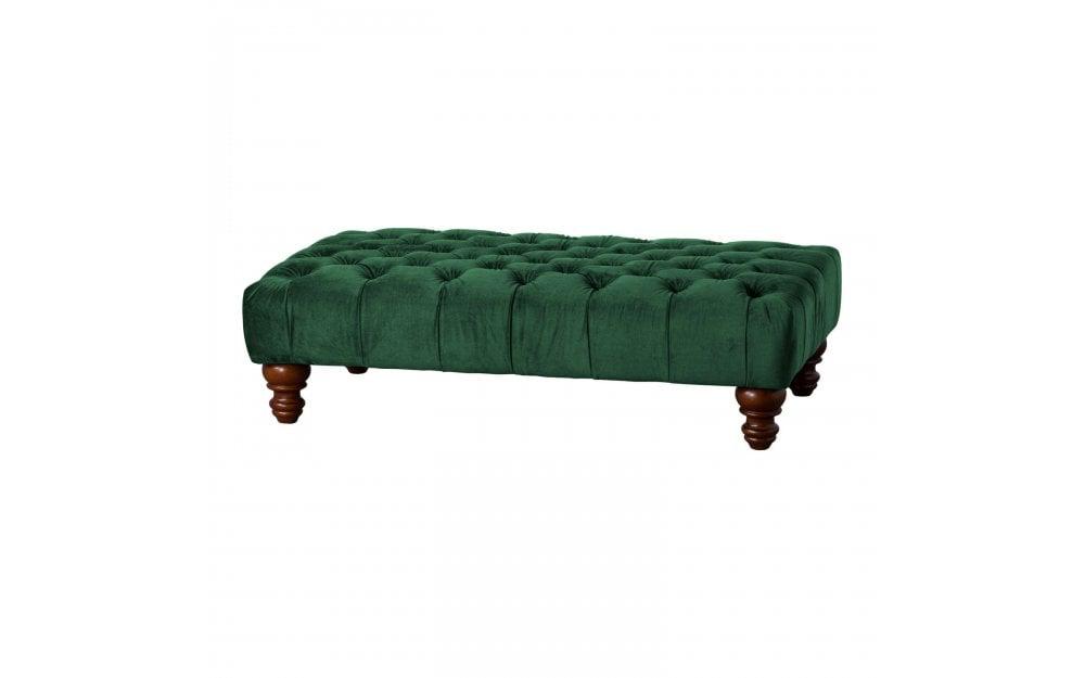 Surprising Emerald Velvet Tufted Rectangle Foot Stool Inzonedesignstudio Interior Chair Design Inzonedesignstudiocom